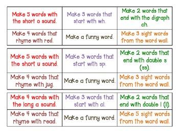Making Words Task Cards