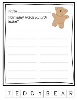 Making Words-Teddy Bear