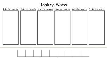 making words template by hoottwice teachers pay teachers