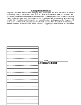 Making Words Template and Directions