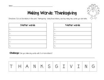Making Words- Thanksgiving