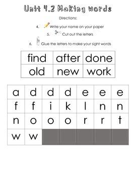 Making Words Unit 4 (Treasures Reading Program First Grade)