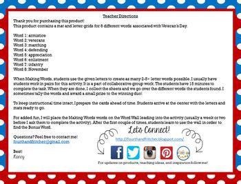Making Words: Veterans Day