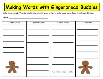 Making Words With Gingerbread Buddies Long and Short A
