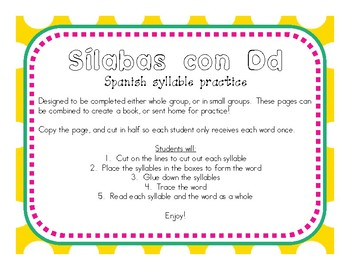 Making Words With the SÍlabas con Dd