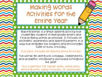 Making Words: Word Work Activities for the Entire Year