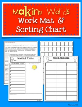 Making Words Work Mat & Word Family Sorting Chart