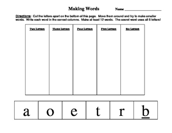 "Making Words - ""boater"" - short a, short o, oa"