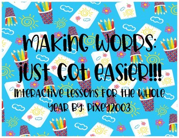 Making Words cards- for the year!!!