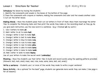 Making Words for April - Guided Activities for Spelling and Vocabulary Skills