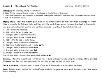 Making Words for January - Guided Activities for Spelling and Vocabulary Skills