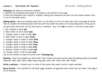 Making Words for November - Guided Activities for Spelling and Vocabulary Skills