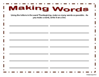 Making Words for Thanksgiving