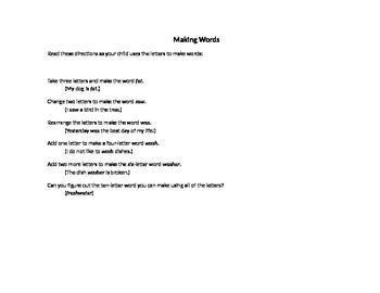 Making Words (freshwater)