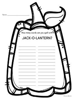 Making Words with Jack-O-Lantern