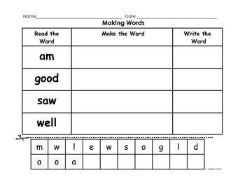 Making Words Using Sight Words