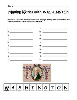 Making Words with WASHINGTON