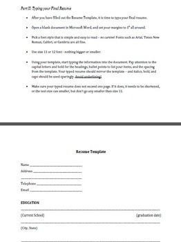 Creating Your First Resume - Instructions and Template