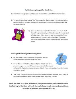 Making a Budget Gr7-9 Math:Decimals,Percents,Estimating,Rounding,Money