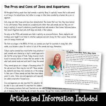 Making a Claim: Animal Captivity and Zoos (Persuasive Writing) Grades 3-5