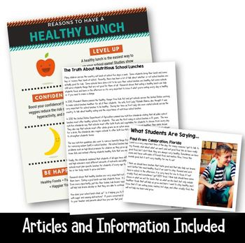 Making a Claim: Are School Lunches Unhealthy? (Persuasive Writing and Project)
