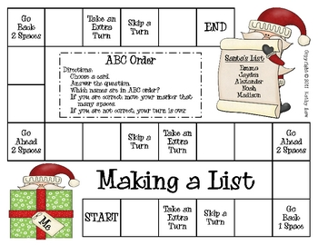 Making a List--ABC Order Game