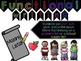 Making a List! Fun Functional Writing!