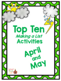 Making a List: Top Ten Activities for April and May