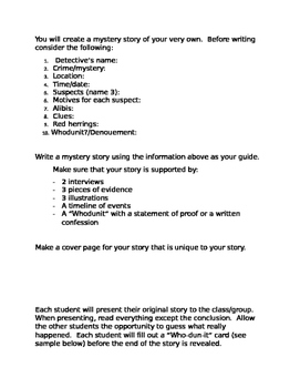 Making a Mystery Creating Writing