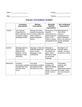 Making a Police Statement lesson