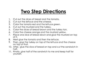 Making a Sandwich- Following Directions