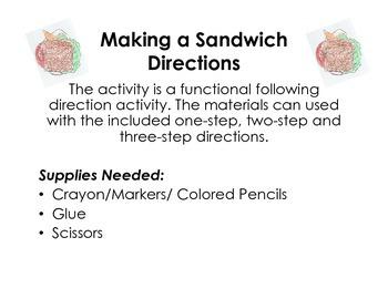 Making a Sandwich- Following Directions