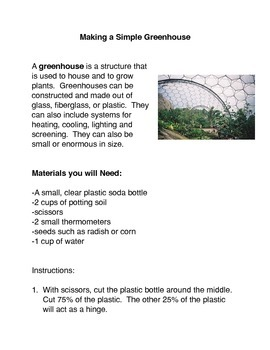 Making a Simple Greenhouse Common Core Reading and Writing