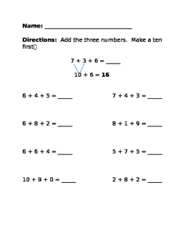 Making a Ten to Add 3 Numbers