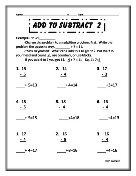 Making addition problems to subtract