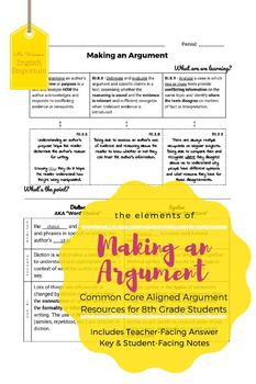 Making an Argument: Elements and Craft of Argumentative Writing for 8th Grade