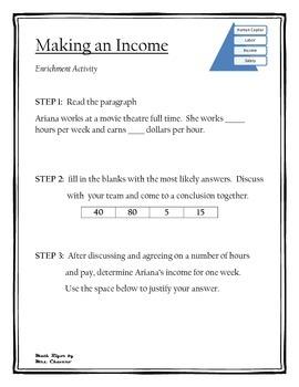 Making an Income PLUS Enrichment Activity-Financial Literacy/Texas