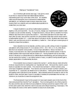 "Making an ""Operational"" Clock"