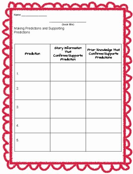 Making and Supporting Predictions Graphic Organizer
