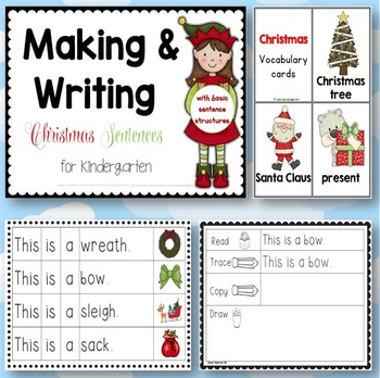 Making and Writing Christmas Sentences for Kindergarten