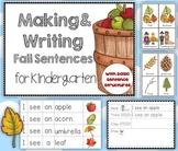 Making and Writing Fall Sentences for Kindergarten {vocab cards & sentence work}