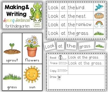 making and writing spring sentences for kindergarten vocab sentence work. Black Bedroom Furniture Sets. Home Design Ideas