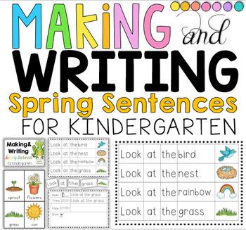 Making and Writing Spring Sentences for Kindergarten {voca