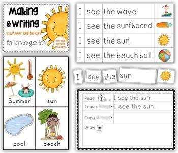 making and writing summer sentences for kindergarten vocab sentence work. Black Bedroom Furniture Sets. Home Design Ideas