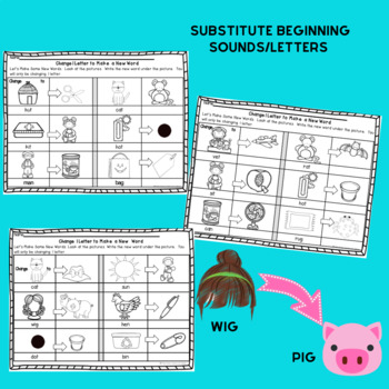 CVC Word Work: Change One Letter or Sound to Make a New Word Worksheets K&1