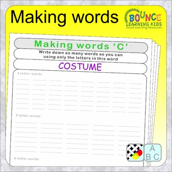 Making new words from an existing word (39 Literacy sheets)