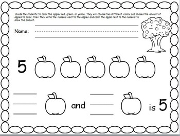 Making number combinations of five with apples