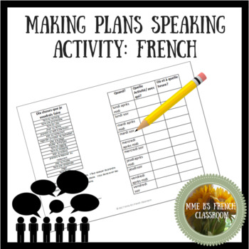 Making plans speaking activity:French