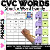 CVC Word Work Making short e CVC Words and Word Families