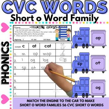 CVC Word Work Making short o CVC Words and Word Families